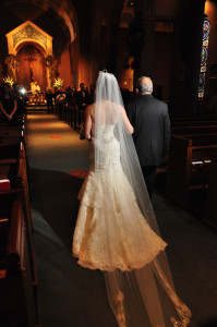 Image of Tinamarie &amp; Dad going up the aisle